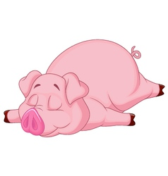 Cute pig cartoon sleeping vector