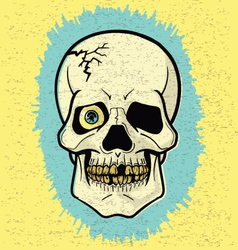 Retro Off-Print Skull vector image