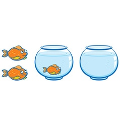 Aquarium and goldfish with smile vector