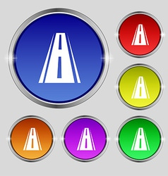Road icon sign round symbol on bright colourful vector