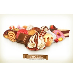 Sweet dessert with chocolate confectionery vector