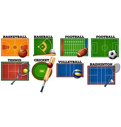 Sport courts and equipment vector