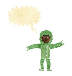Cartoon space man with speech bubble vector
