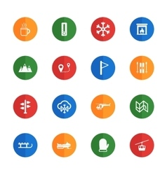 Skiing simply icons vector