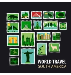 World travel icons set vector