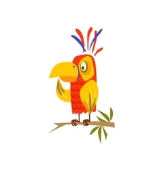 Parrot Standing On Branch Flat vector image