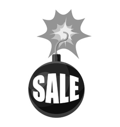 Bomb with the word sale icon gray monochrome style vector