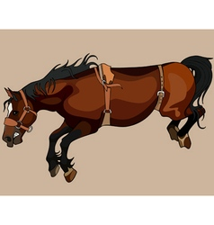 Brown horse in the jump with bent legs vector