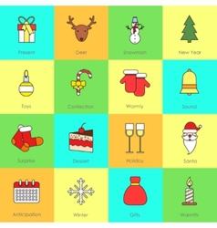Christmas icons set flat line vector image vector image