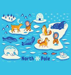 collection of polar animals eskimos and vector image