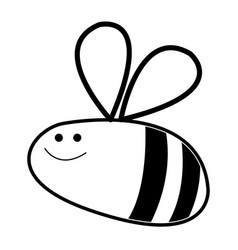 Comic bee insect flying animal line vector