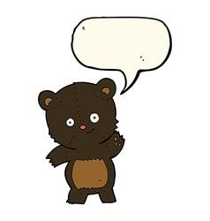 Cute black bear cartoon with speech bubble vector