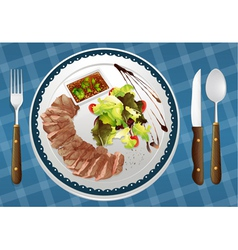 food and a dish vector image vector image