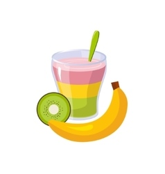 Fruit and smoothie breakfast food element isolated vector
