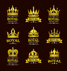 golden royal quality crown logo templates vector image