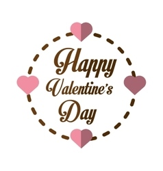 Happy valentines day card greeting heart frame vector
