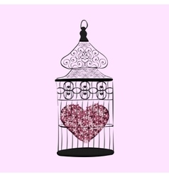 Heart in a cage symbol separation love vector