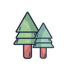 natural pine trees botany icons vector image vector image
