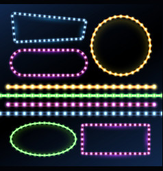 Neon and led strips and diode light border frames vector