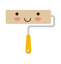 paint roller icon colorful kawaii silhouette vector image