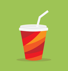 paper glass icon paper red cups with straws for vector image