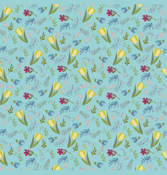 Pattern with tulips and wild flowers vector