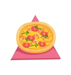 Pizza With Tomatos And ShrimpsPart Of Italian vector image