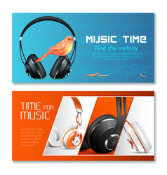 realistic headphones horizontal banners vector image