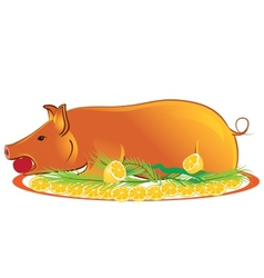 Roasted piglet vector