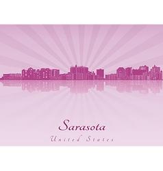 Sarasota skyline in purple radiant orchid vector