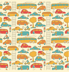 seamless transport colored pattern vector image vector image