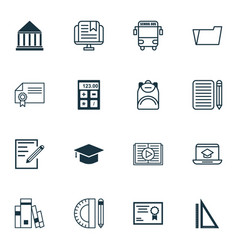 Set of 16 education icons includes taped book e vector