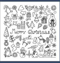 Set of isolated merry christmas icons vector