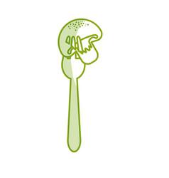 Silhouette fresh mushroom food in the fork utensil vector