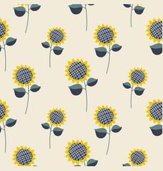 sunflower plant cartoon seamless pattern vector image
