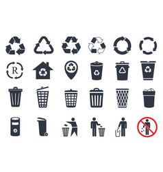 trash icons and recycle signs vector image vector image