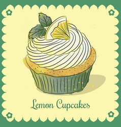 Vintage card lemon cupcakes vector