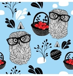 Winter berries seamless background with clever vector image