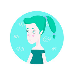 woman cartoon portrait representing cancer zodiac vector image vector image