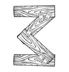 wooden number 3 engraving vector image