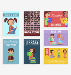 World book day in children library of bookstore vector