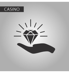 black and white style Diamond in hand vector image