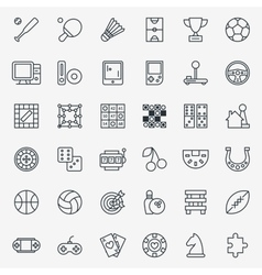 Game line icons set vector