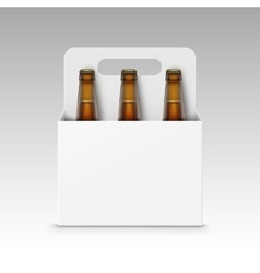 Glass brown bottles of beer with white packaging vector