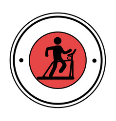 Pictogram circular frame with man in treadmill vector