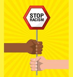 Hands with notice emblem of stop racism vector