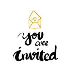 You are invited calligraphy design vector