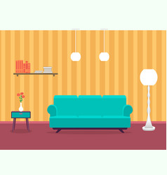 Interior design of living room in flat style with vector