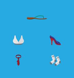 Flat icon garment set of cravat foot textile vector