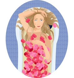 Blonde woman taking a bath with rose petals vector